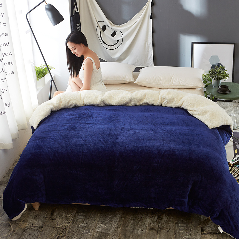 AB side winter duvet cover berber fleece quilts cover lamb bedding Home textile 1pc Solid warm comforter cover Velvet bed cover