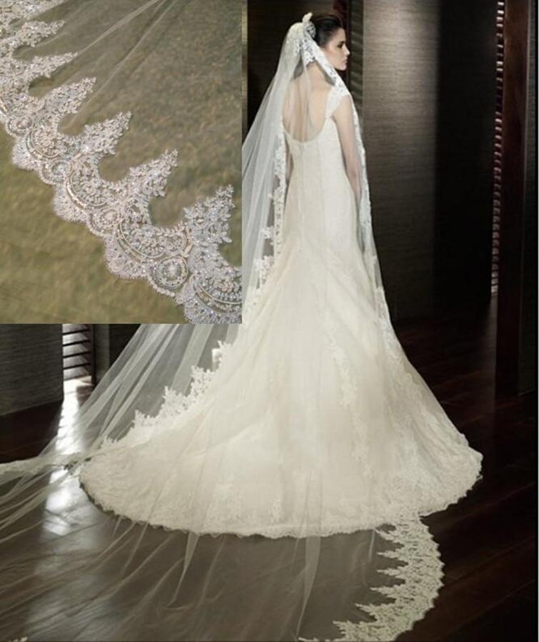 White/Ivory Wedding Veil 2M/ 2.5M / 3m / 4M Long Comb Lace Mantilla Cathedral Bridal Veils Wedding Accessories Veu De NoivaBridal Veils   -