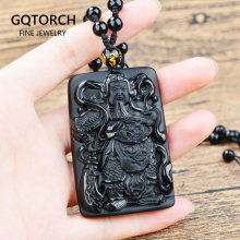Black Obsidian Carving Guan Yu Natural Stone Pendant Amulets And Talismans Crystal Jewelry For Men(China)