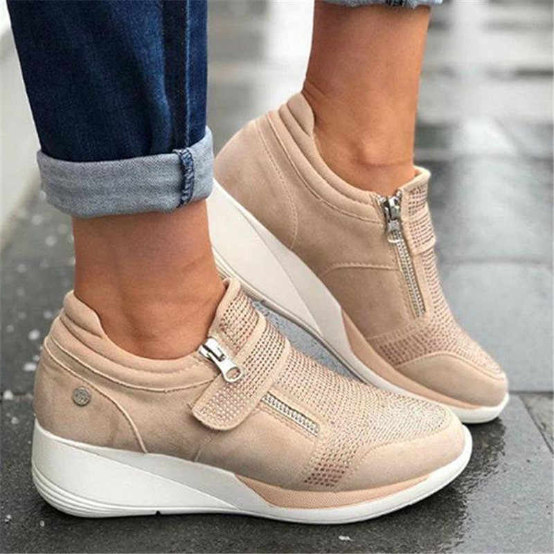 Dropship 2019 New Flock High Heel Lady Casual Womens Sneakers Leisure Platform Shoes Breathable Height Increasing Shoes Sneakers