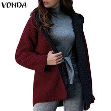 VONDA женские теплые пальто из искусственного меха осень зима пальто с капюшоном куртки длинный рукав толстый флисовый кардиган для беременных