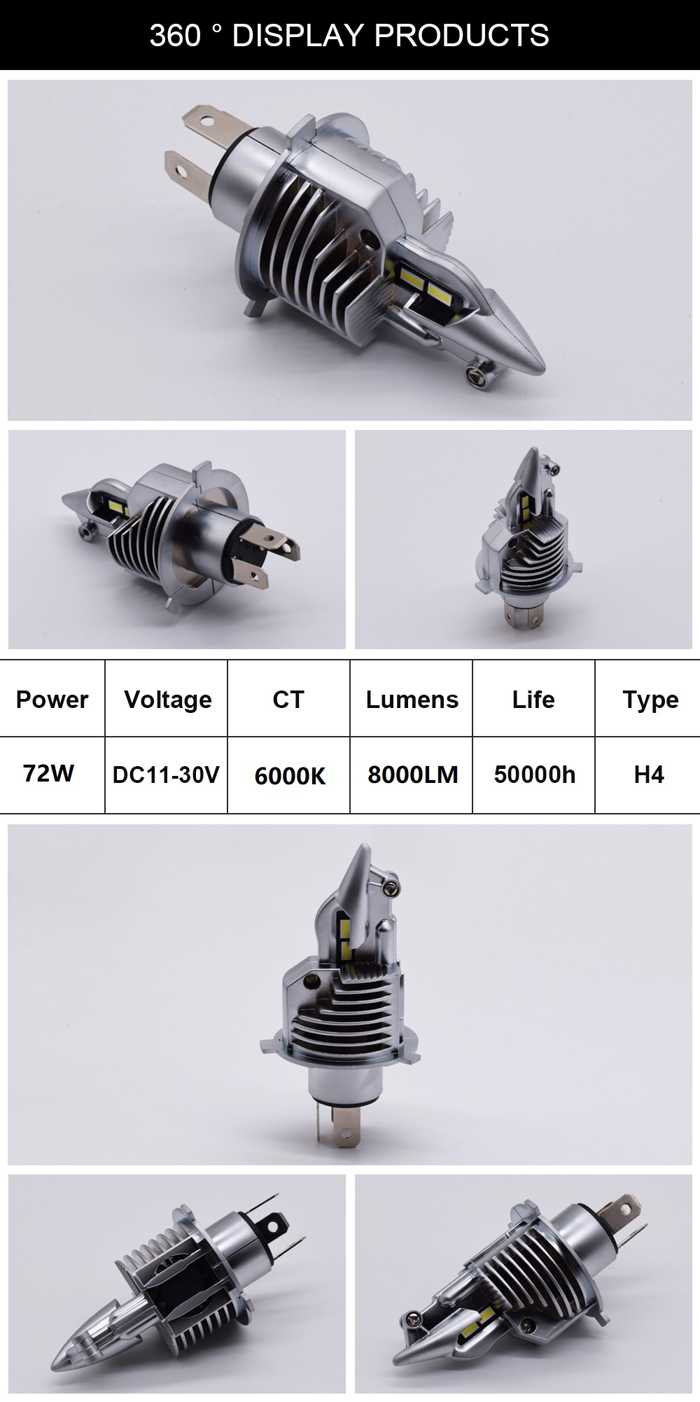 Fighter H4 Led Bulbs Car/motorcycle Headlight 72W 12V 24V 6000K Super Led H4 Car headlight Bulbs lampada Led H4 8000LM