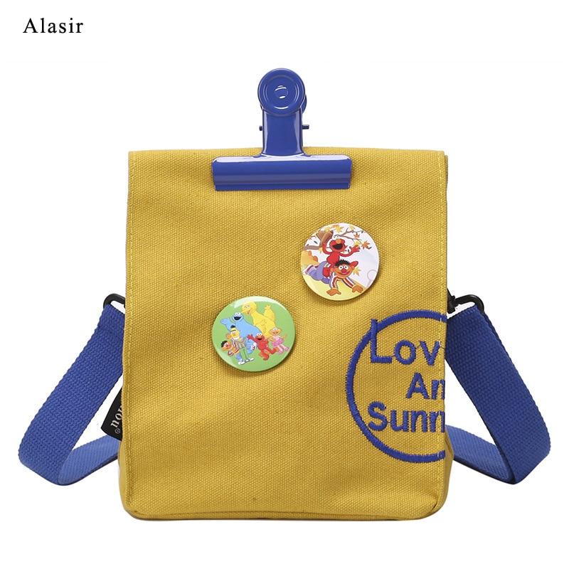 Alasir Clip Shoulder-Bag Crossbody-Bag Canvas Female Vintage Women Letter Badge Individuality