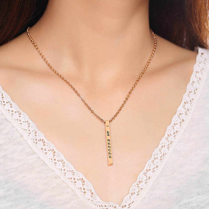 """NEWBUY Trendy Stainless Steel Geometric Pendant Necklace For Women Girl """"I AM ENOUGH"""" Engraved Choker Necklace For Party"""