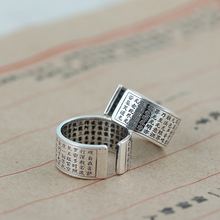925 Sterling Silver Six-Character Spell Rings For Men Freely Rotatable Creative 100% Mens Fine Jewellery