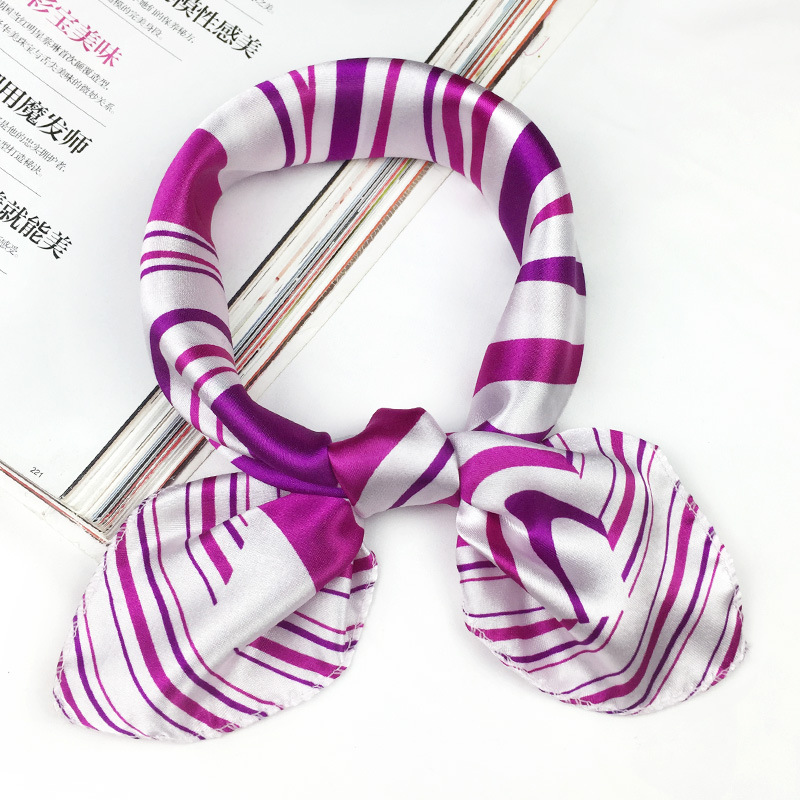 50*50cm 2019  Fashion Silk Scarf Women Small Soft Squares Decorative Head Scarf Multicolor Stripe Print Kerchief Neck Wrap