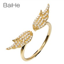 BAIHE Solid 14K Yellow Gold(AU585) About 0.15ct Certified H/SI-SI3 Round cut 100% Genuine Natural Diamonds Engagement Wedding Women Trendy Fine Jewelry Gift Ring(China)