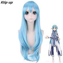 Ktip Up Sword Art Online Yuuki Asuna Yuki Asuna Wig Braided Blue Styled Synthetic Hair Cosplay Wig + Wig Cap cosplay 22 23cm sword art online yuuki asuna cos water blue wig 1 3 bjd sd dd doll wig