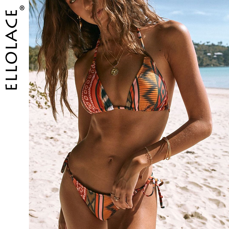 Ellolace Sexy Bikini Swimwear Women V-Neck Biquini Monokini Halter Lace Up Bathing Suit Push Up Swimsuit Female 2020 Beach Wear