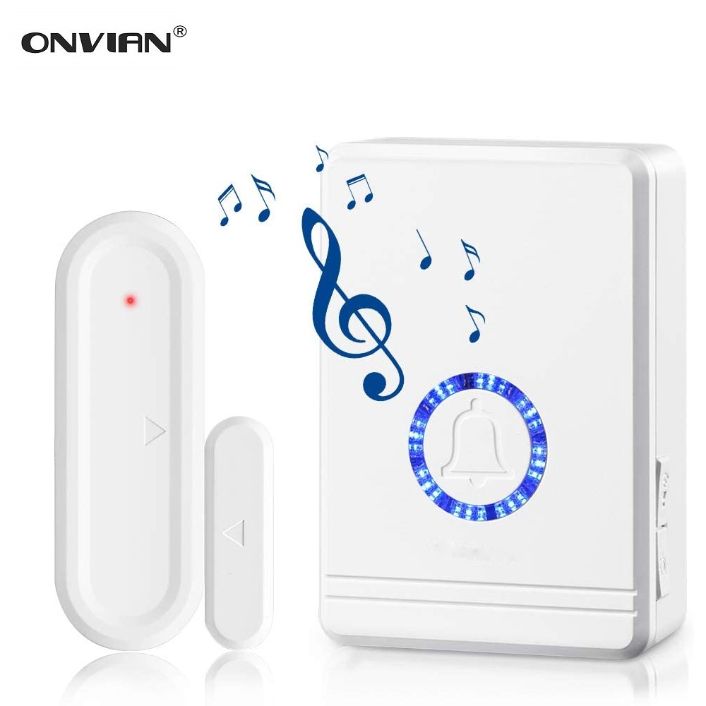 Onvian Door Open Sensor Chime 180M Range Wireless Door Alarm Window And Door Sensor Door Entry Chime Home Security 48 Chimes