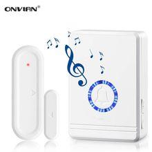 Onvian-Sensor de puerta abierta para el hogar, carillón de seguridad inalámbrico de 180M de rango, alarma de puerta y ventana, 48 carillones