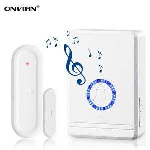 Onvian Door Open Sensor Chime 180M Range Wireless Door Alarm Window and Door Sensor Door Entry Chime Home Security 48 Chimes