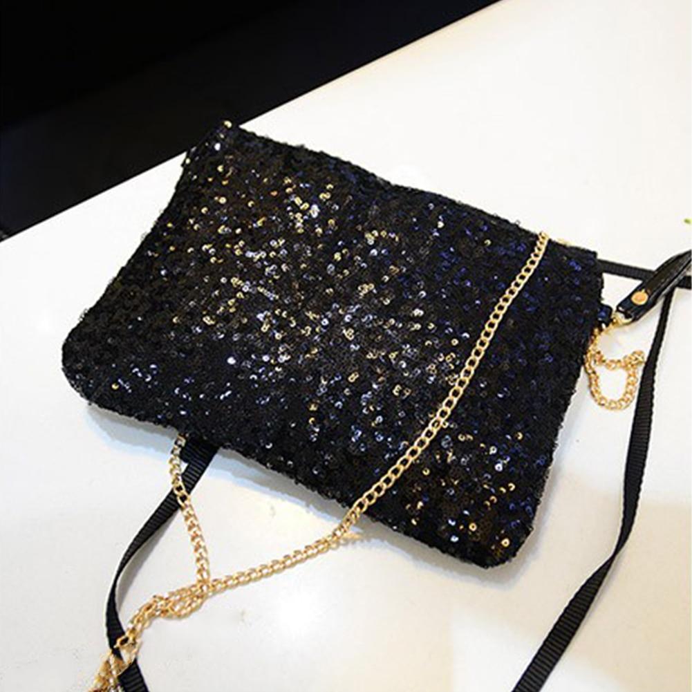 Evening Party Zipper Large Capacity Fashion Chain Glitter Sequins Detachable Strap Shoulder Bag Club Women