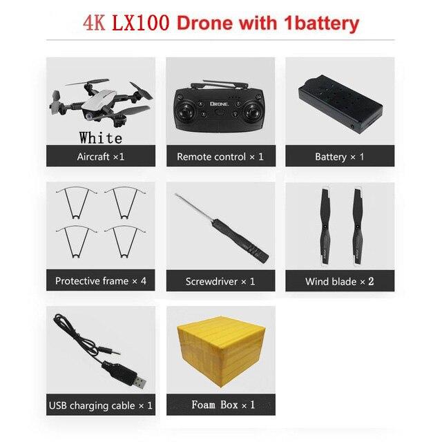 LAUMOX LX100 Радиоуправляемый Дрон с 4 K/1080 P HD камерой оптическое позиционирование потока wifi FPV складной Квадрокоптер вертолет дроны следуем за мной - Цвет: 4K 1B FB W