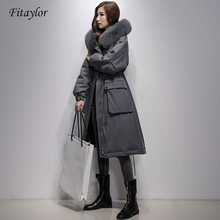 Fitaylor Winter Large Real Fox Fur Collar 90% White Duck Down Jacket