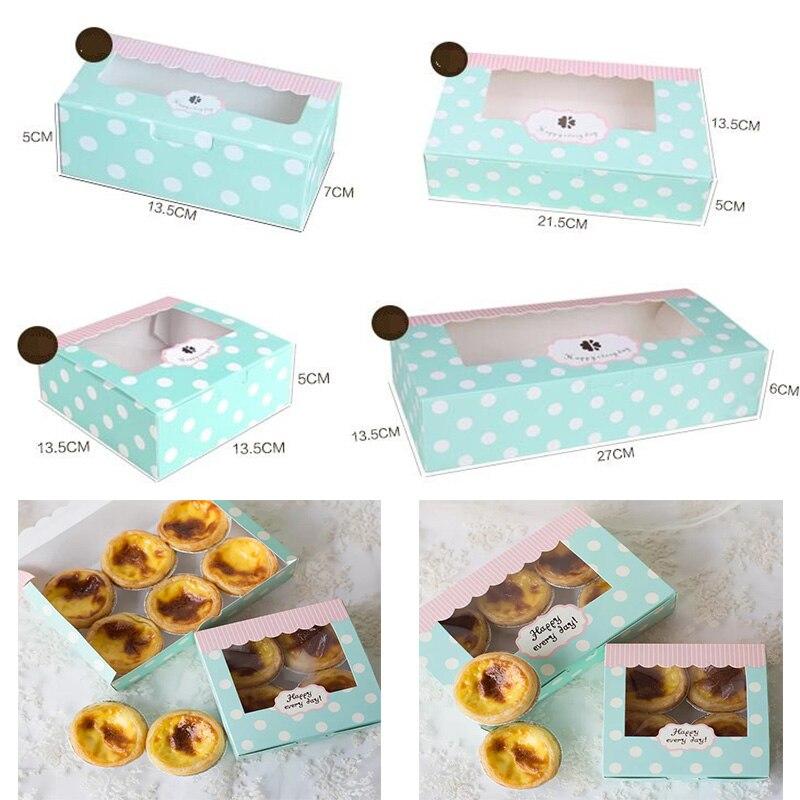 10pcs Kraft Box Paper Cake Pvc Window Craft Jewelry Box, Packing Cardboard Box,blue Wedding Favors Gift Cookie Box For Candy