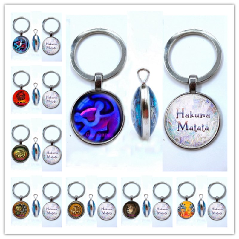 King Simba Double-sided Keychain Pendant Hakuna Matata Keychain Simba Lion Double-sided Keychain