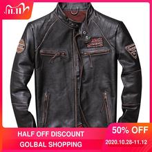 Jacket Motorcycle Vintage Genuine Spring-Biker's-Coat Cowhide Plus-Size Men Brown XXXXL