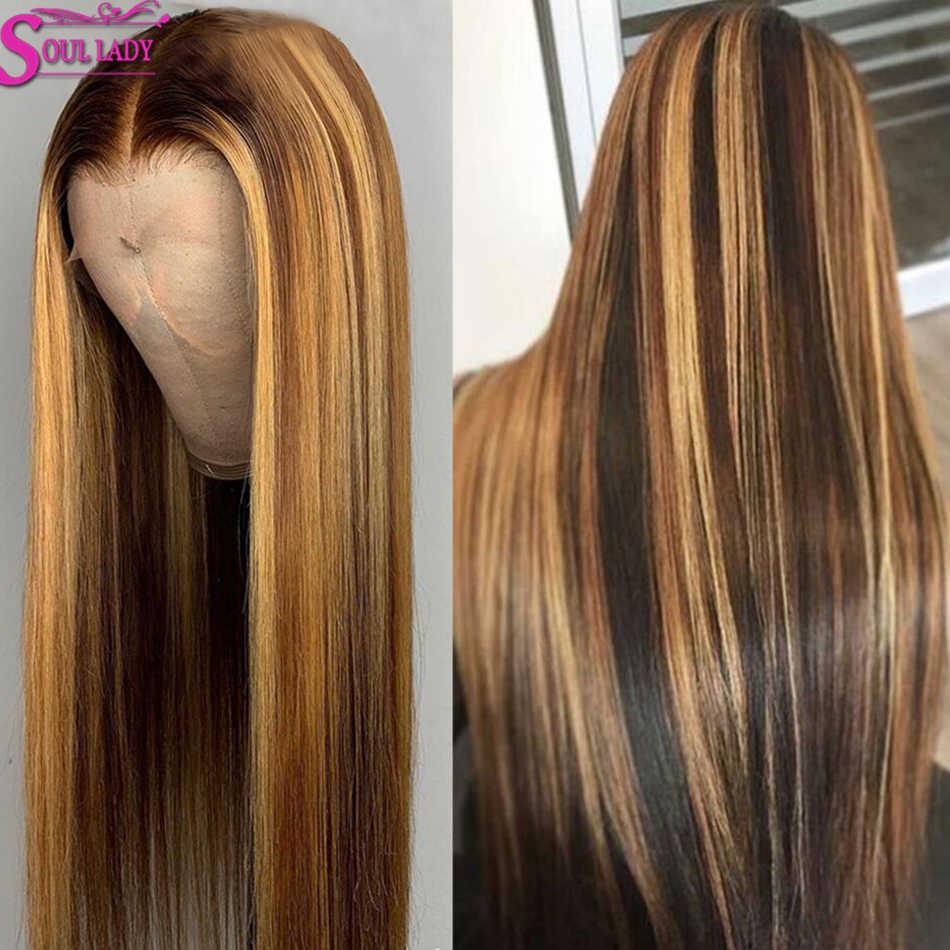13X613x4, pelucas de cabello humano degradado con encaje Frontal resaltado, peluca Frontal de encaje recta 360, peluca Remi marrón resaltado Wig150