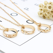 Best Friends Stitching Letters Necklaces 3 Sets Round Gold Alloy Metal Chain Necklace Personality Jewelry Birthday Gift Unisex