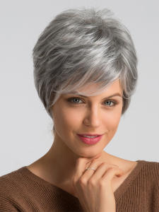 Element Hair Wigs Short Gray Pixie-Cut Synthetic 50%Human-Hair for Women Wig-Blend Parting