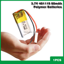 3,7 v 80mah 401119 für selbstauslöser stange Bluetooth headset 3D gläser spielzeug Polymer lithium-batterie