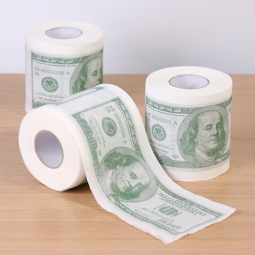 1 Roll Home Supplies Wood Pulp One Hundred Dollars Printed Rolling Paper Funny Toilet Paper Humor Toilet Paper Novelty Gift 1