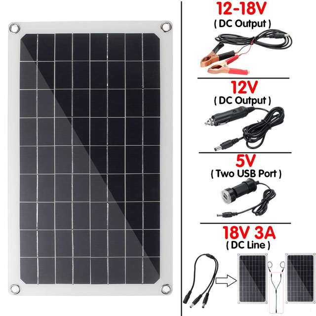 30W/50W/60W/70W Solar Panel Dual USB Output Solar Cells Solar Panel 10/20/30A Controller for Car Yacht 12V Battery Boat Charger 2