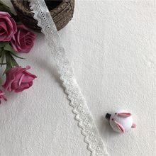 Ruban blanc en dentelle de coton 2.5 cm S1875, garniture de fête de mariage, artisanat/hometexil/robe couture pour enfant, patchwork fait