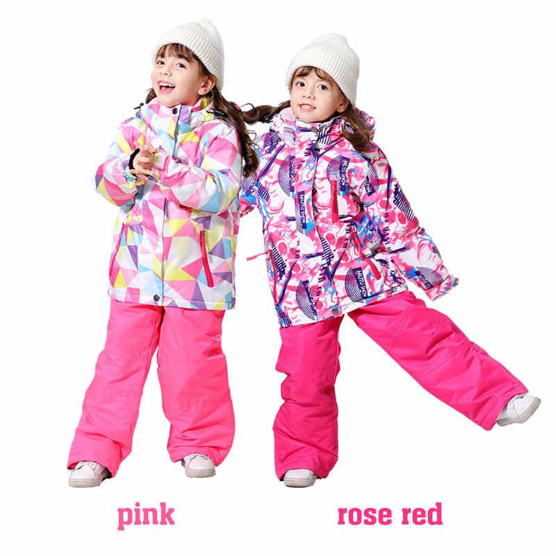 Kayak pantolonu çocuk kız erkek açık rüzgar geçirmez su geçirmez sıcak kar pantolon çocuk kış kayak ve snowboard pantolon marka