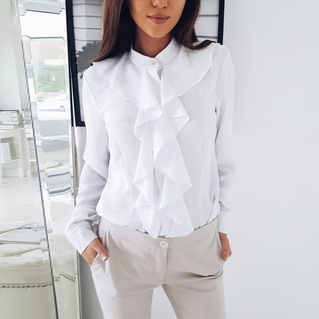 Long Sleeve Ruffled Shirt Women 2020 Fashion Spring Autumn Elegant Blouse Streewear High Quality Pure Color White Black Tops 2