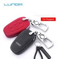 Genuine leather car key case for Peugeot 301new 308 408 508 2008 3008 4008 5008 Peugeot LOGO Zinc alloy Key Rings metal KeyRings|Key Case for Car|   -
