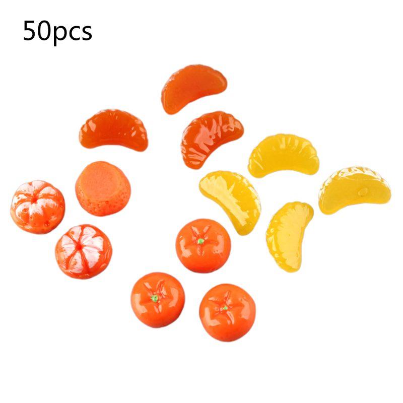 50Pcs Cute Mini Orange Petals Fruits Resin Flat Back Cabochon Miniature Figurine Charms DIY Hair Clip Phone Decoration