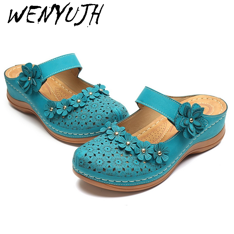 Women Sandals 2020 Summer Handmade Ladies Shoes Leather Floral  Sandals Women Flats Retro Style Shoes Woman Dropship