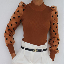 Elegant Ribbed Knitted Sweater Women Fashion Polka Dot Mesh Puff Sleeve Sweater Slim Pullover Long Sleeve Tops Autumn Streetwear rohopo semi high collar puff long sleeve pullover sweater vertival ribbed elasticity waistband knitted thick tops 2314