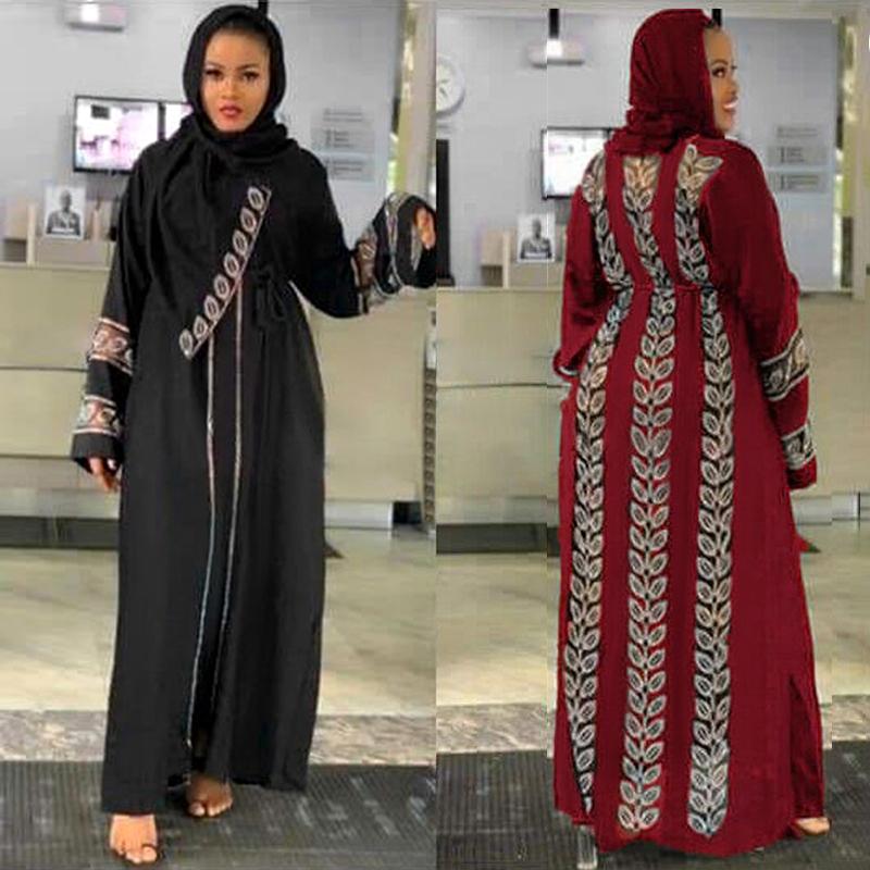2021 New Dubai Abayas For Women Elegant Hijab Black Dress Turkey Muslim Red Caftan Marocain Dimonds Kimono Islamic Clothing