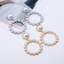 HOCOLE  Fashion Imitation Pearl Metal Earrings Za 2019 Gold/Silver Round Pearl Drop Earring Statement Wedding Party Jewelry Gift цена