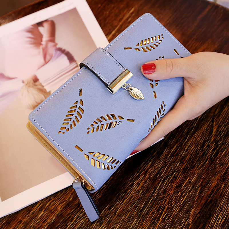 Женский кошелек из искусственной кожи, Женский Длинный кошелек с золотыми полыми листьями, Сумочка для женщин, кошелек для монет, держатель для карт, клатч - Цвет: Blue