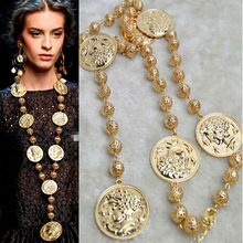 2019 coins Baroque retro metal head round exaggerated necklace long  women pendant