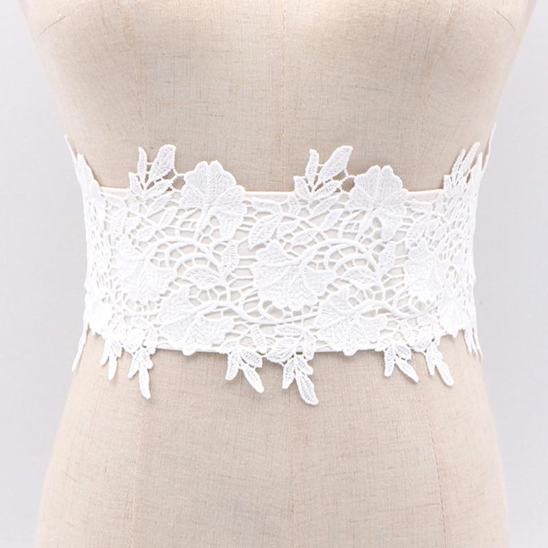 Fashion 2020 Women Dress Bowknot Faux Leather Lace Wide Decor Belt Female Weaving Belt Elegant Cummerbunds