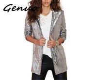 Genuo New 2019 Women's Jaket Autumn Fashion Women Silver Sequined Coats Turn down Collar Long Sleeve Outwears Cardigan Jackets