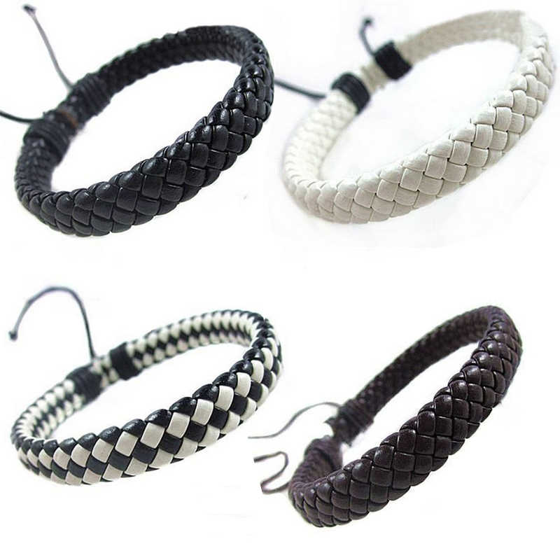 Hip-hop Men Hand-woven Fashion Bracelet Bangle Surfer Multi-color Cuff Adjustable 1 piece Simple Leather Unisex