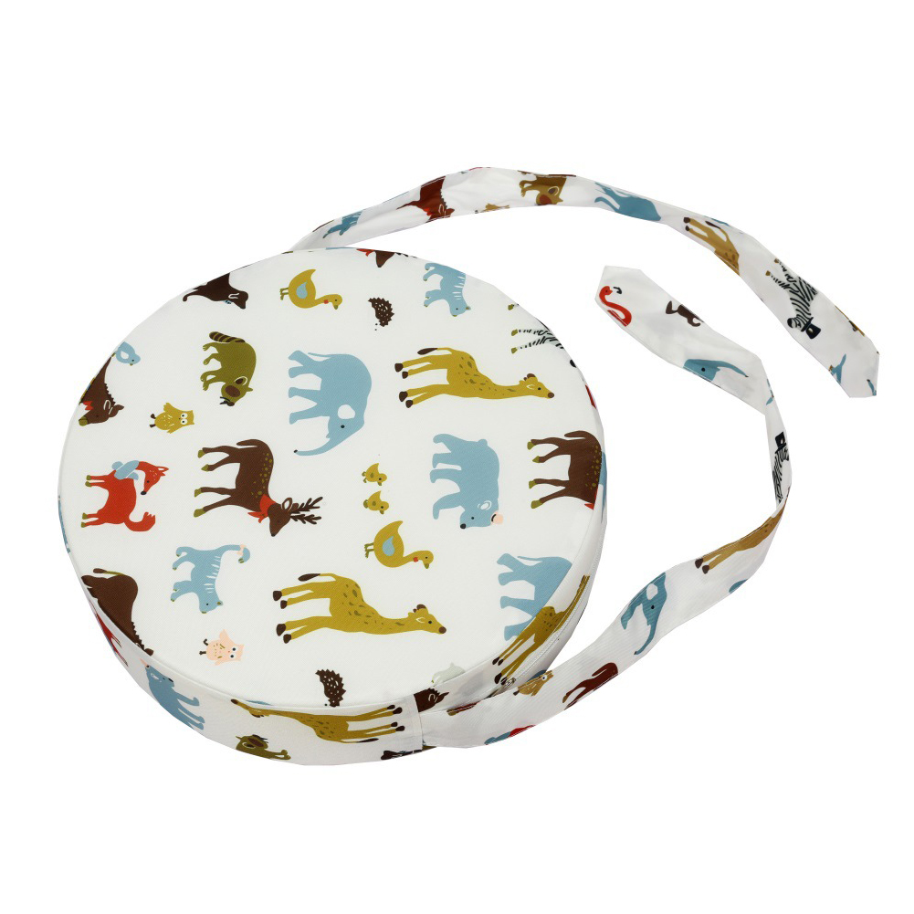 Chair Cushion Round Shape Heightening Dismountable Decoration Dining With Strap Kids Mats Thickened Animal Printed Home Washable