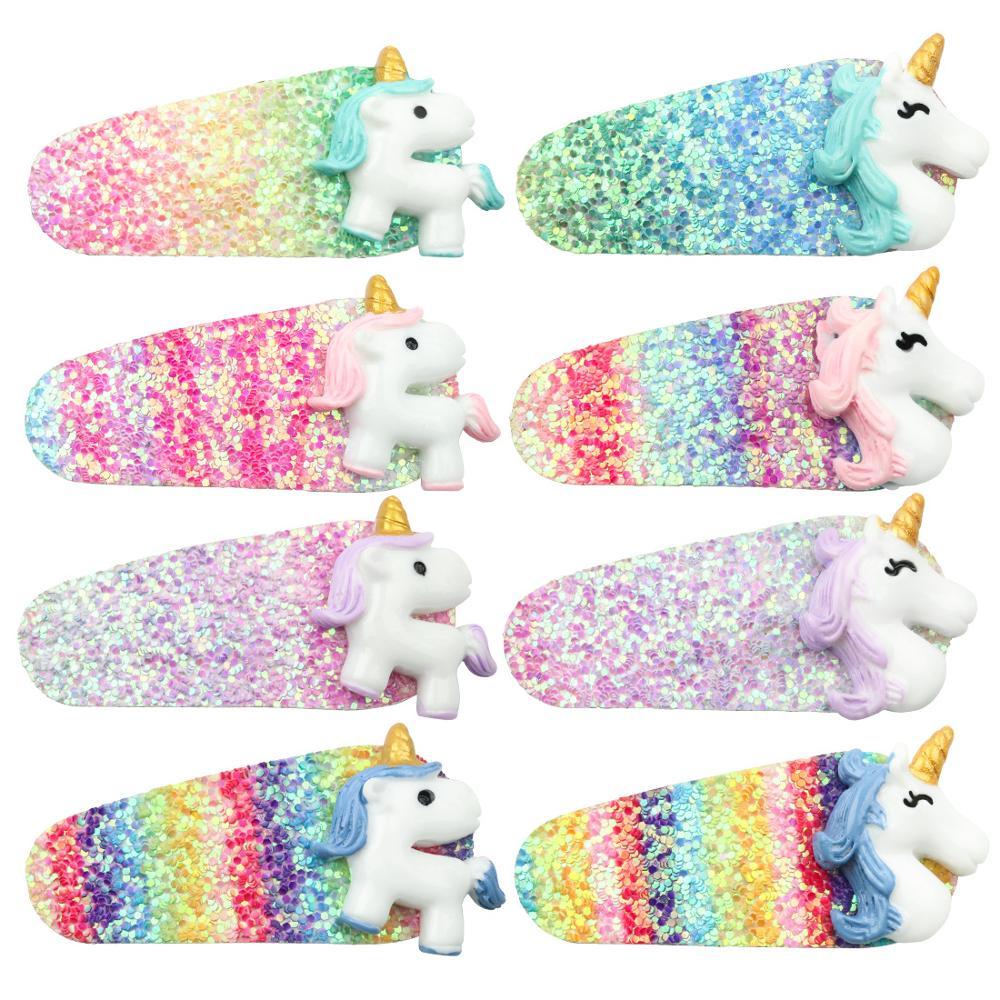 Unicorn Baby Hair Pins Cartoon Shiny Glitter Hair Clip Girls Princess Sequin Rainbow Baby Hair Clips Accessories Cute Dreamy