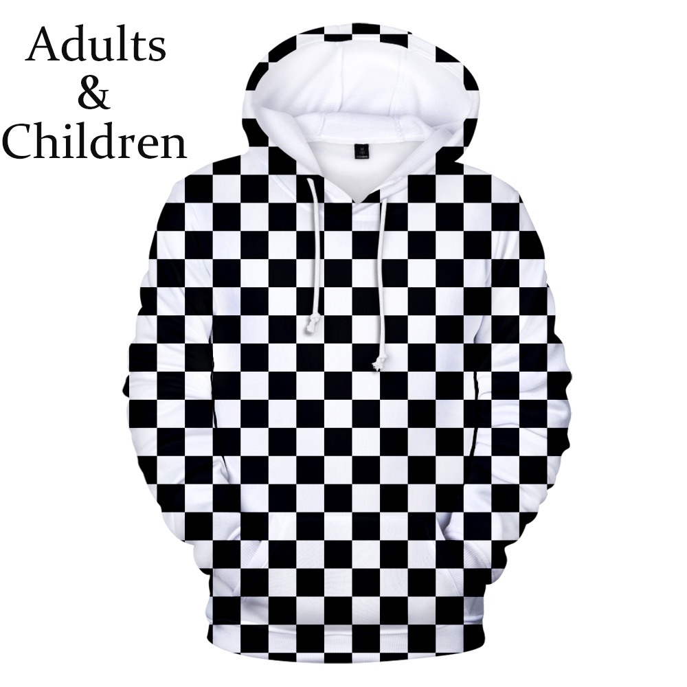 Hot Comic Ghost Blade 3D Hoodies Men Women Print Black And White Plaid Streetwear Autumn Sweatshirt 3D Kids Demon Slayer Hooded