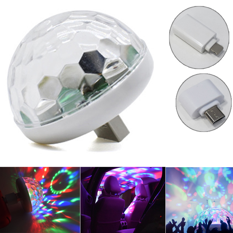LED Car USB Atmosphere Light DJ Mini Colorful Music Sound Lamp Home Bar USB Phone Surface For Festival Party Karaoke P7Ding
