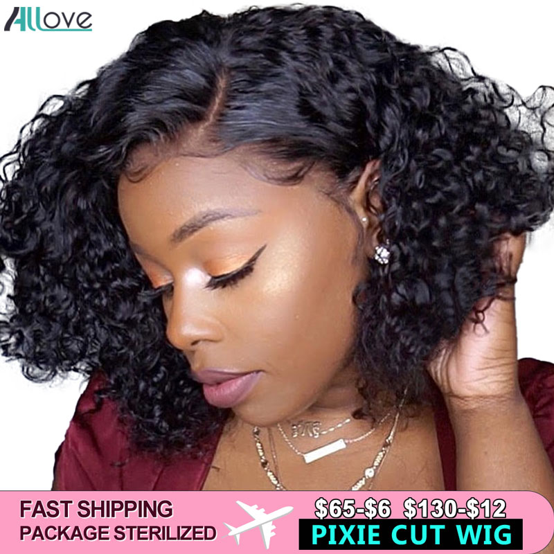 Curly Bob Lace Front Wigs For Black Women Pre Plucked Pixie Cut Lace Wig 180 Density Short Bob Wig Lace Front Human Hair Wigs