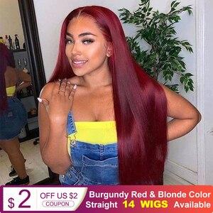 Женский парик Белла Бургундия, Красный синтетический парик на фронте с кружевом, 26