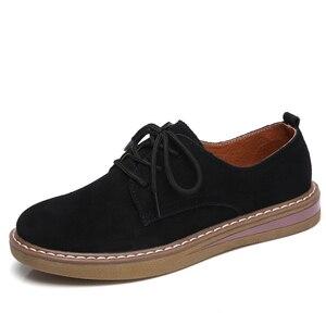 Image 2 - פרה זמש עור נשים דירות אוקספורד נעלי אביב גבירותיי מקרית סניקרס נעלי נעל 2018 מוקסין בתוספת גודל סתיו סירת נעליים