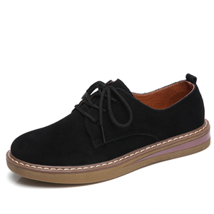 Image 2 - Cow Suede Leather women Flats oxford shoes Spring Ladies sneakers Loafers Casual Shoe 2018 Moccasin Plus Size Autumn Boat Shoes